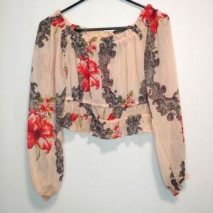 Forever 21 Floral Crop Top Blouse